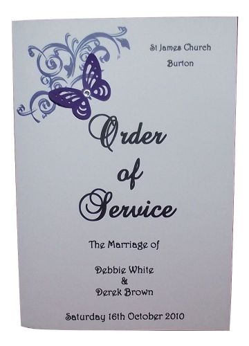 Order of service - Personalised wedding corner butterfly design various colours x10
